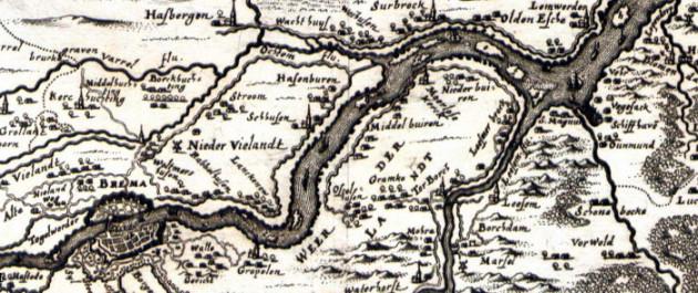 Der Sagenraum (aus einer Merian-Karte um 1650)