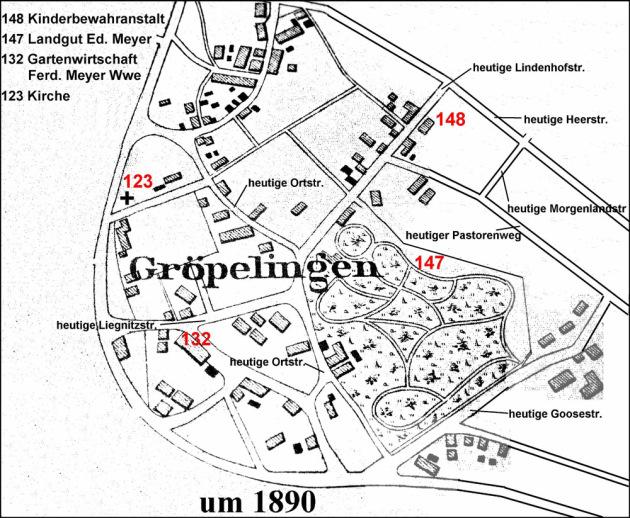 Karte vom Dorf Gröpelingen um 1890