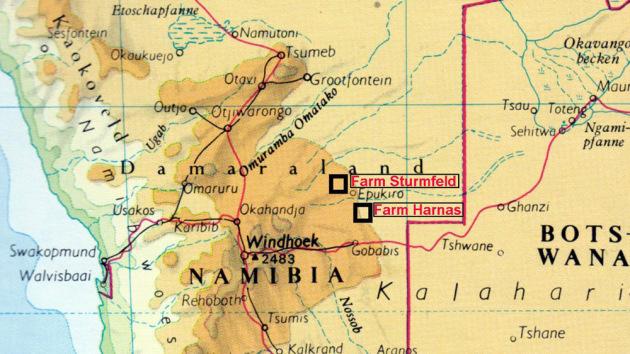 Die Lage der Farm Sturmfeld in Namibia