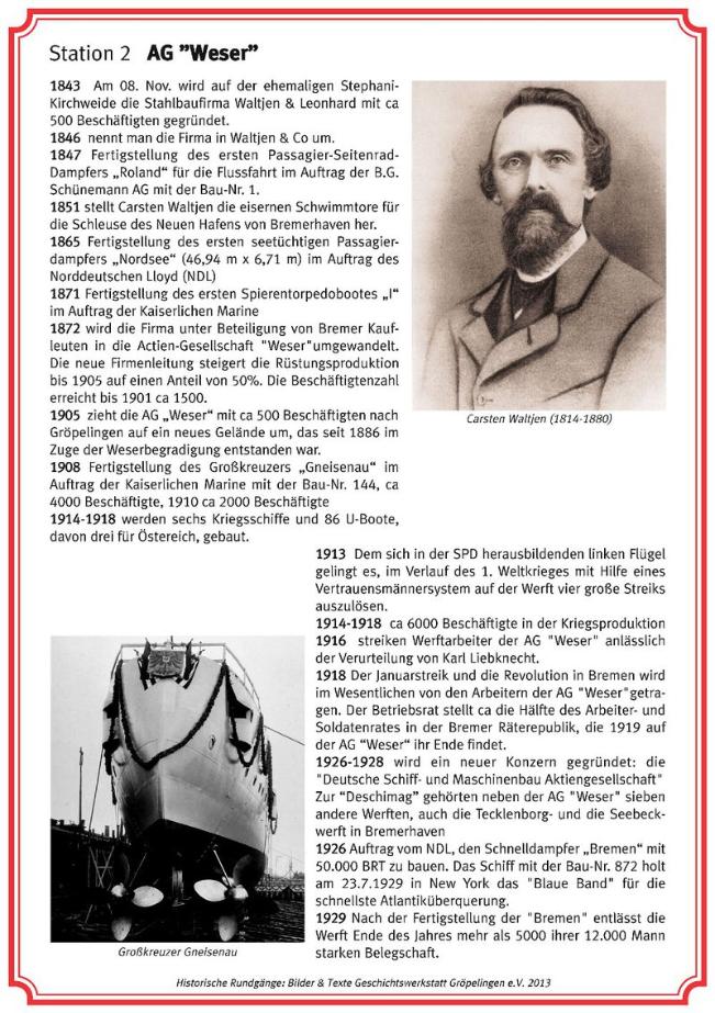 Historische Rundgänge: Station 2 AG-Weser, 1. Tafel